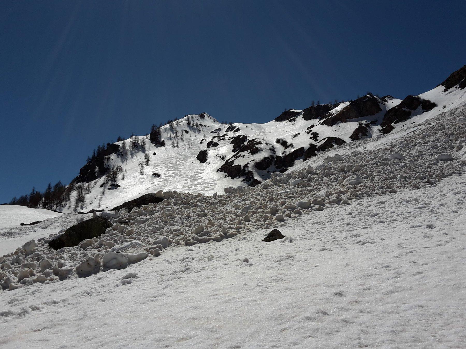 Neve trasformata nel pendio sopra Orfeuille