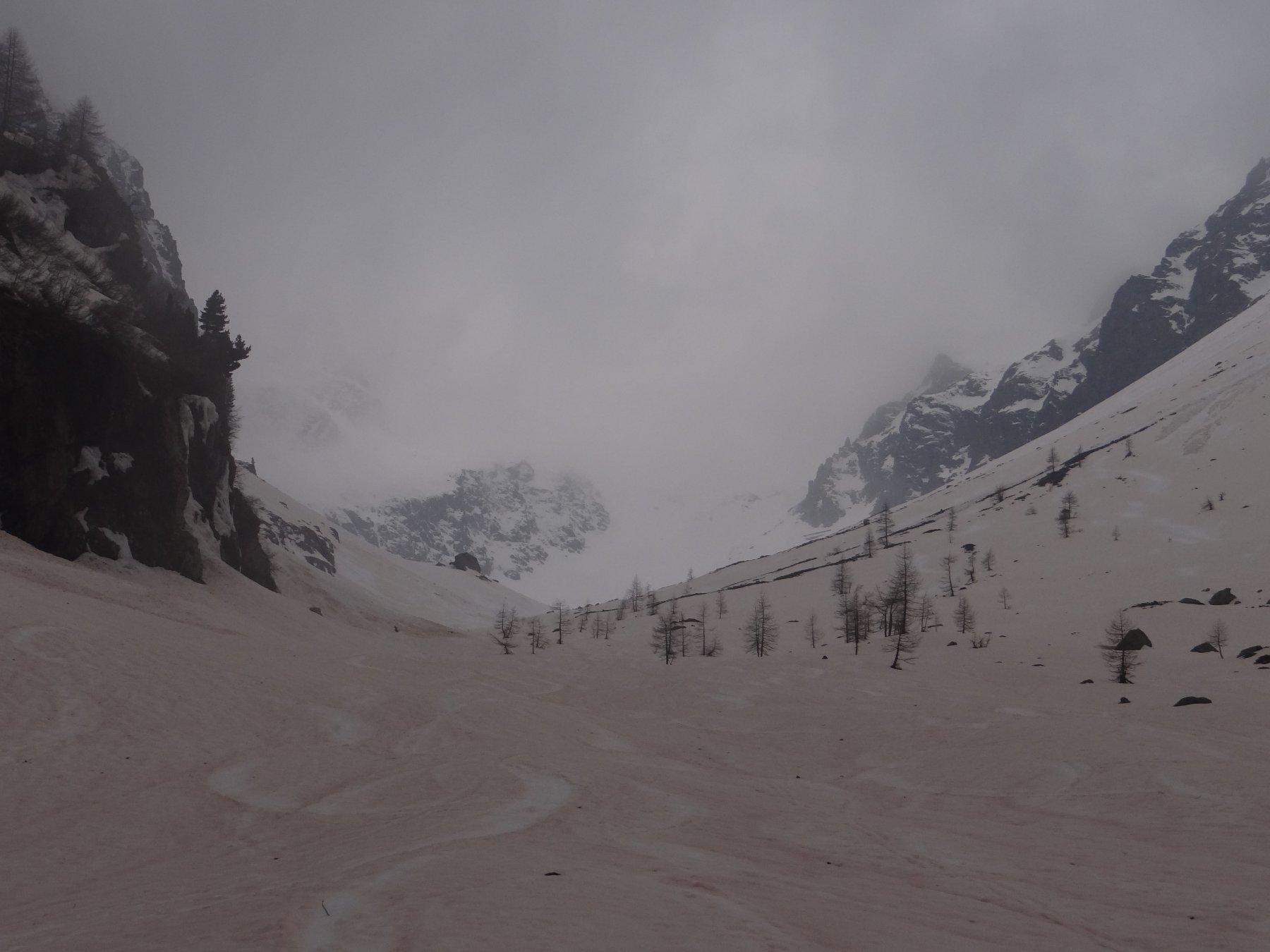Nuvolosità fitta oltre i 2400-2500m, in prossimità del cambio di colore della neve (rossa/bianca)