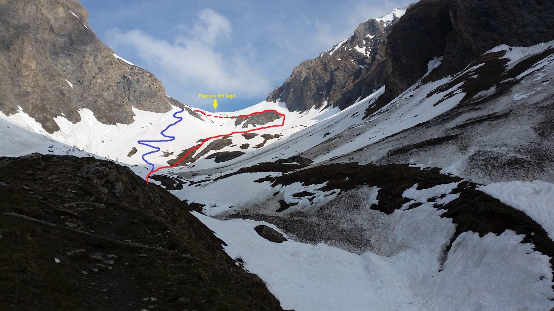 Visti dai pressi delle Alpi di Crotte: in blu il percorso del sentiero estivo (tutto a sinistra salendo) in rosso il percorso seguito; tratteggiato il percorso non effettuato.