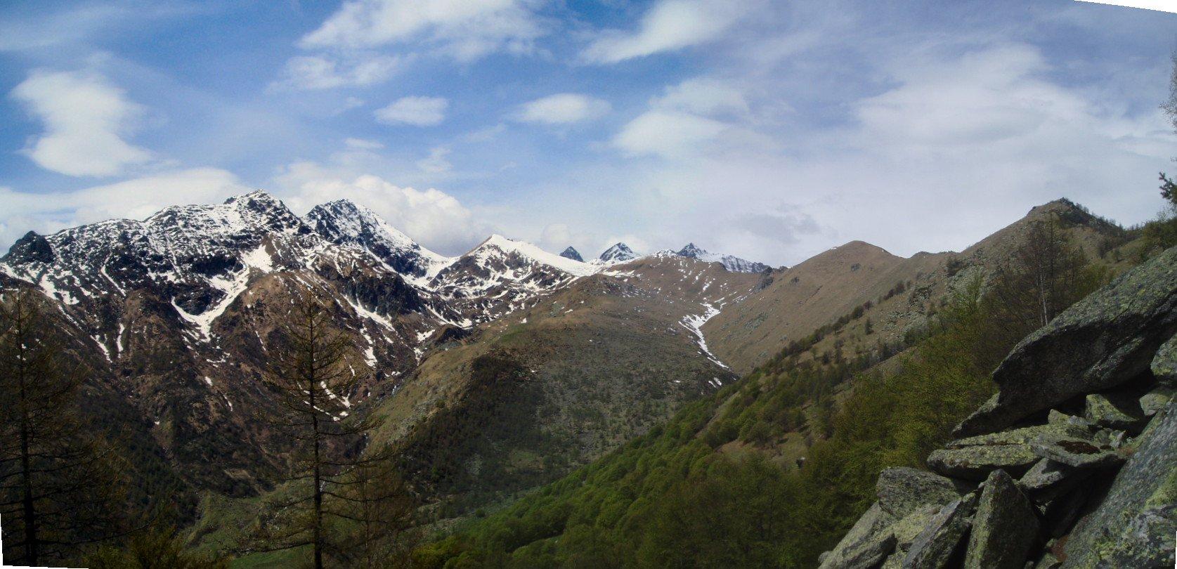 Testata Val Sangone con Robinet, Rocciavrè, Costabruna e Colle del Vento.