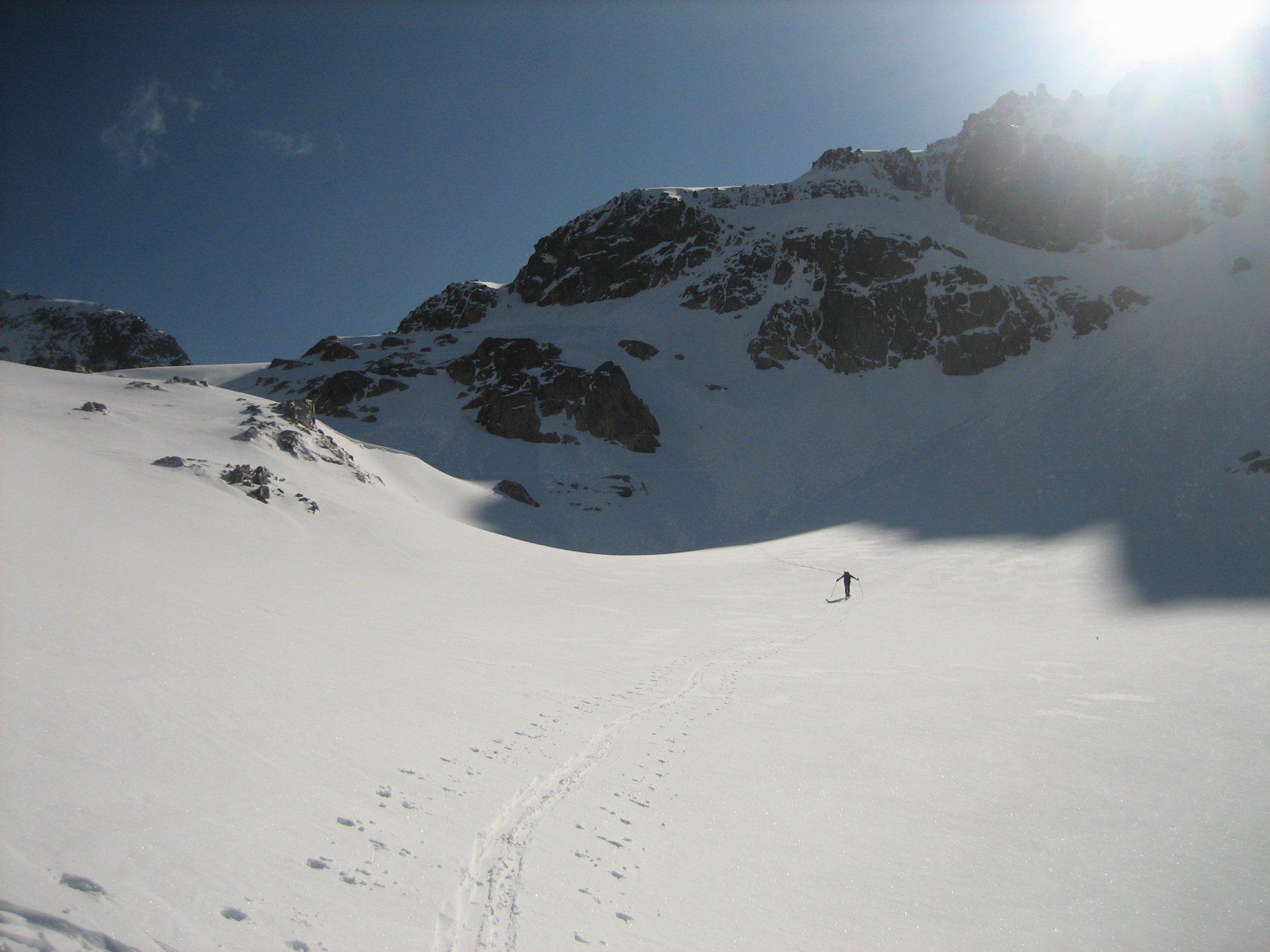 Alberto in avvicinamento, verso il Colle del Brocan.