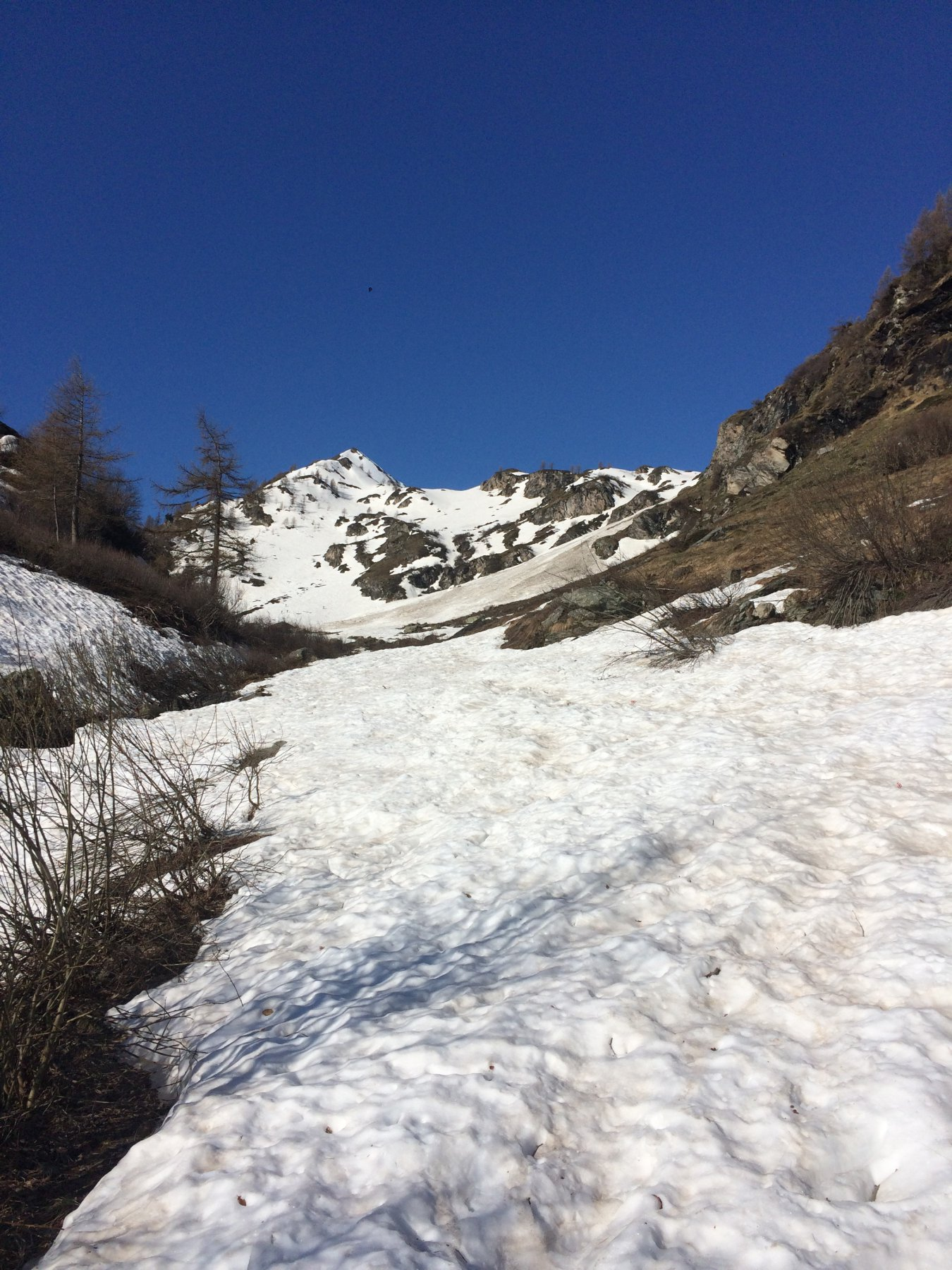 Inizio neve con sullo sfondo il primo canale sopra stalle di Orfeuille