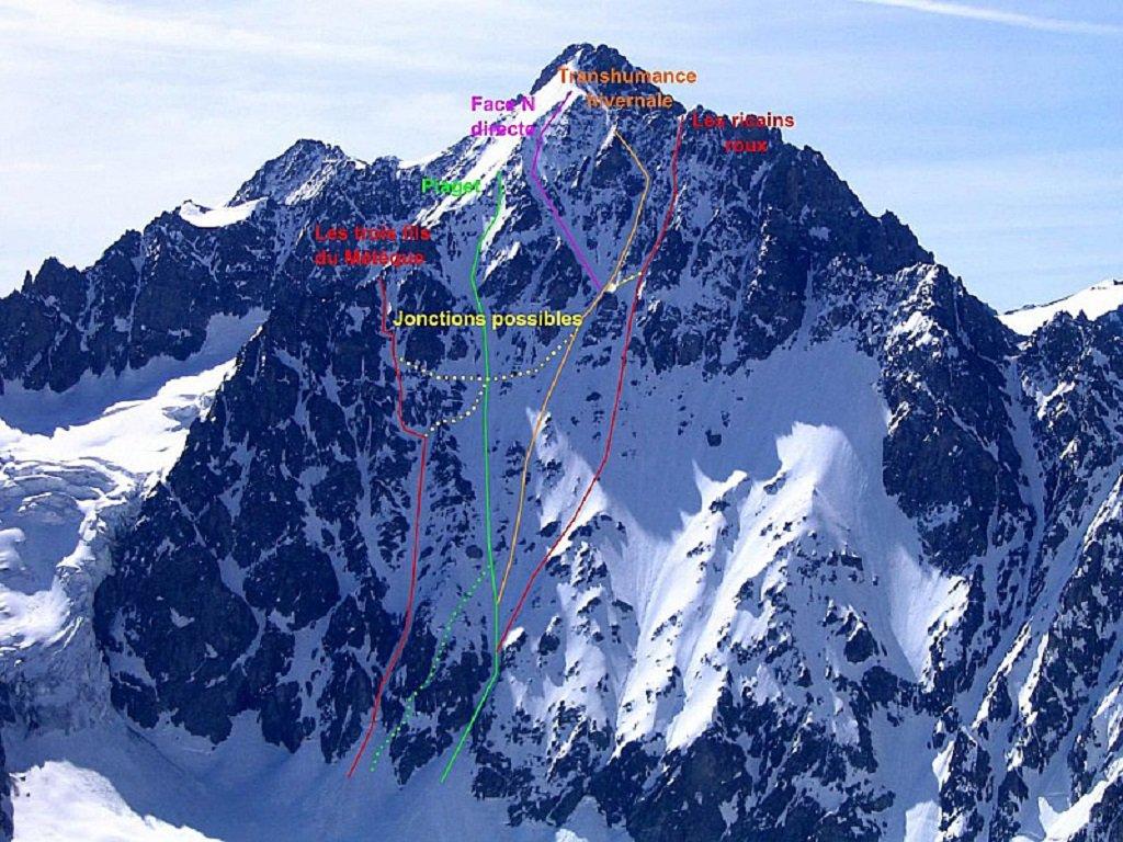le linee di discesa della parte NO (foto Skitour)