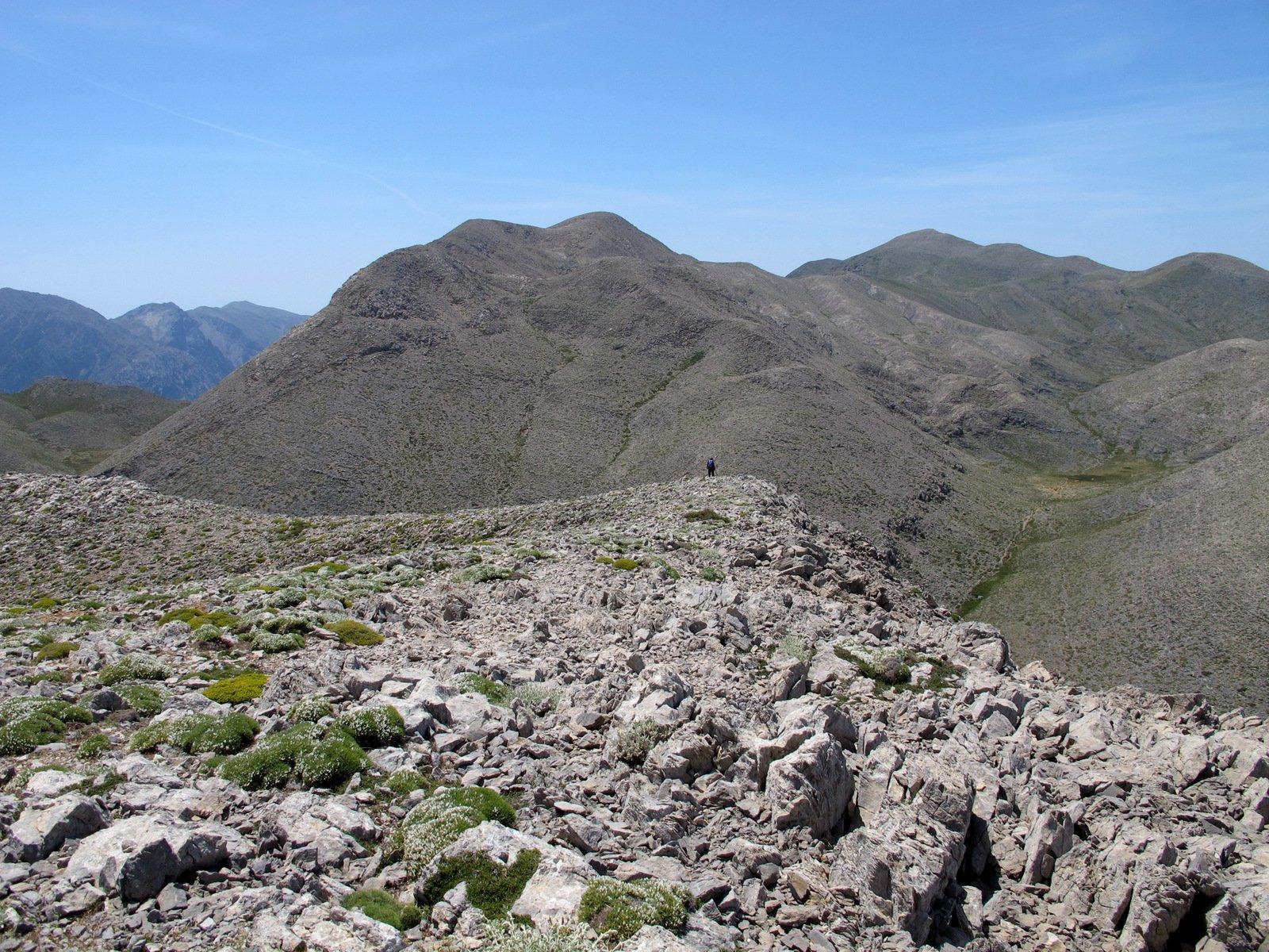 La discesa dal Papa Balomata, a centro foto l'articolato complesso di cime del Petradé.