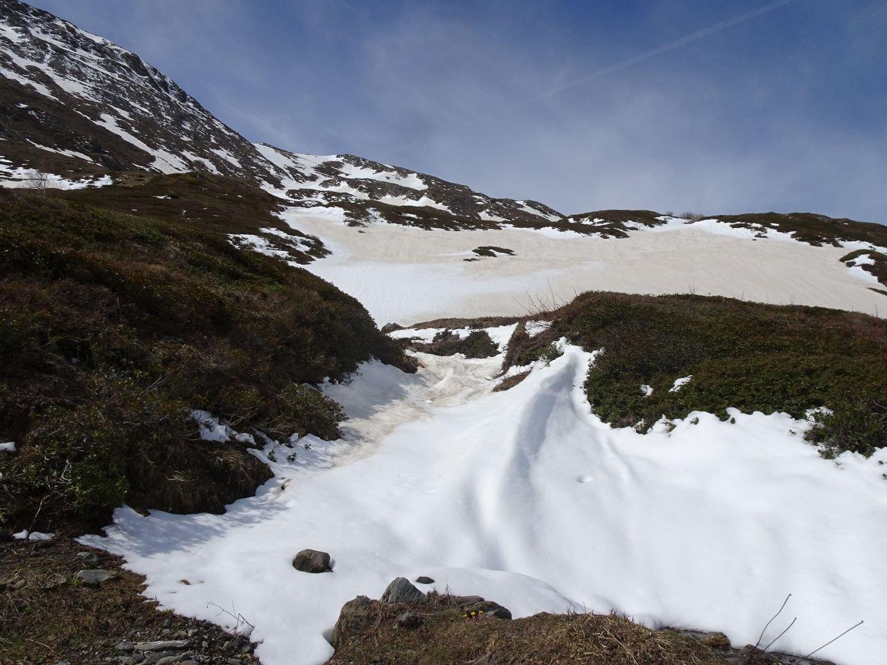 i ripidi pendii della parte bassa versante Nord diretto