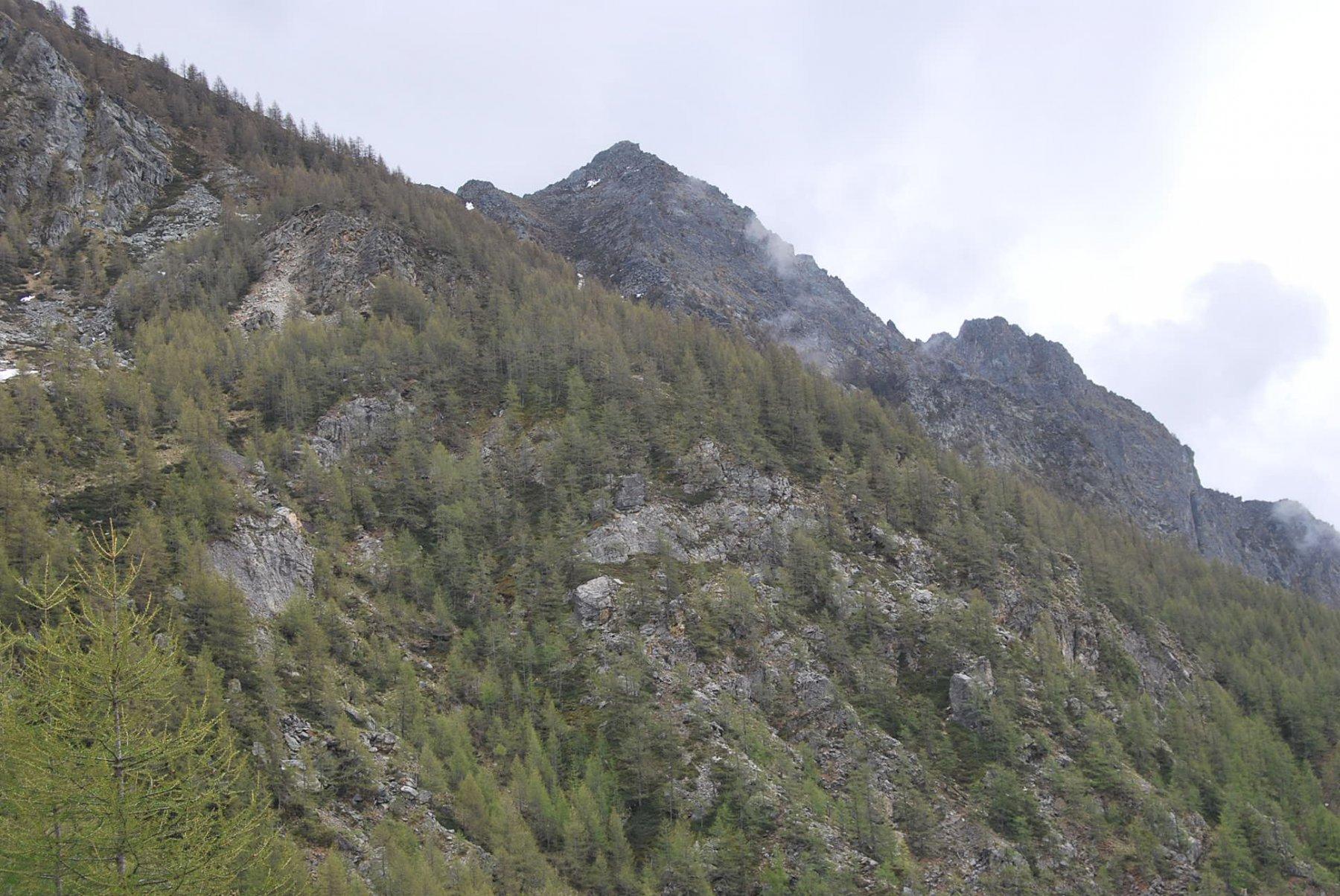 Il Monte Faceballa e la cresta verso il Col Brison visti scendendo ad Ollomont in una rara schiarita