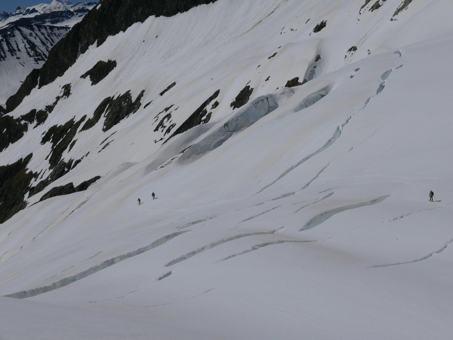 sciata su ghiacciaio