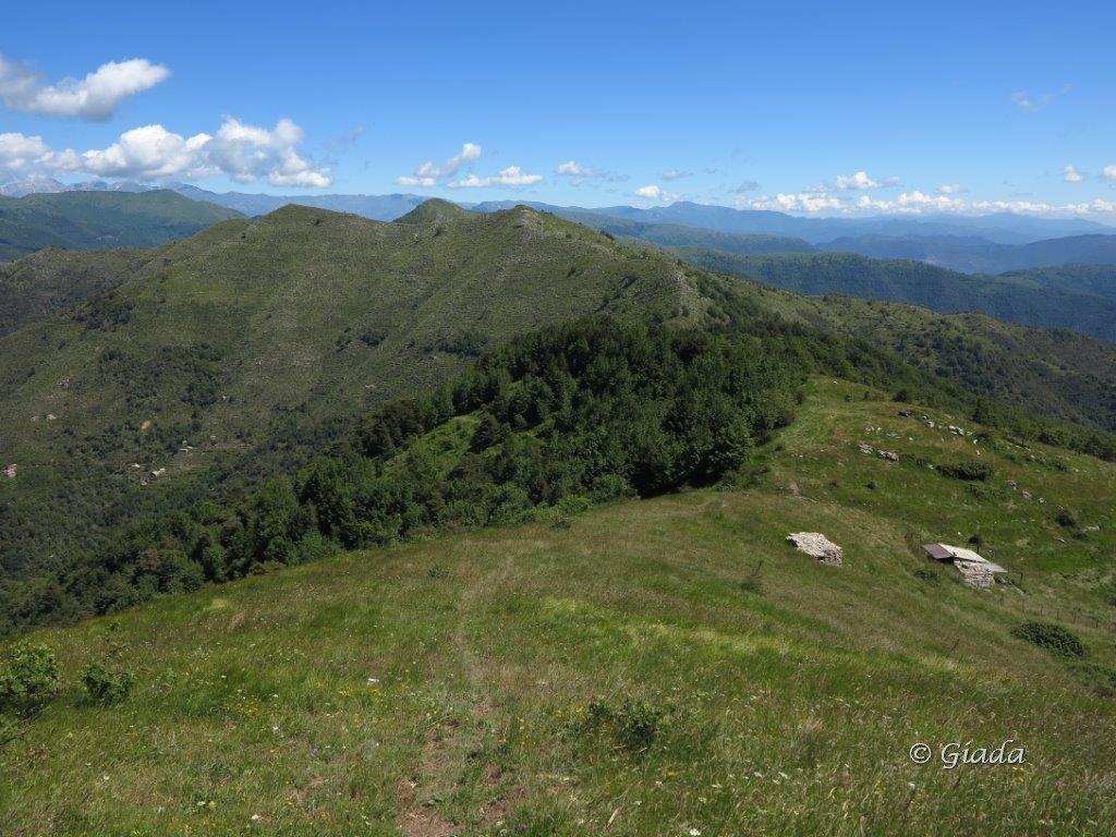 Dal Faudo guardando verso il crinale, Passo di Vena e Monte Moro