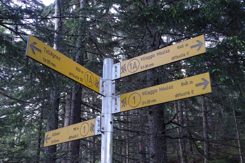 segnaletica al bivio con il sentiero proveniente da Allesaz