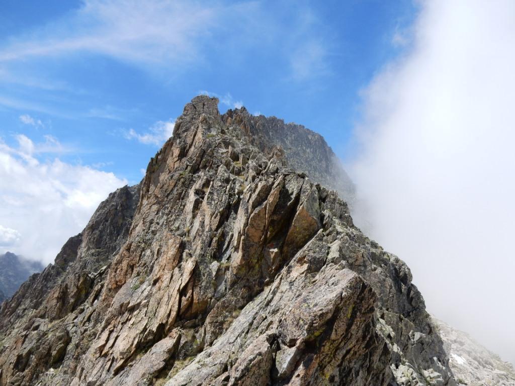 l'intera cresta verso la Mondini vista dal passo del Punto Nodale