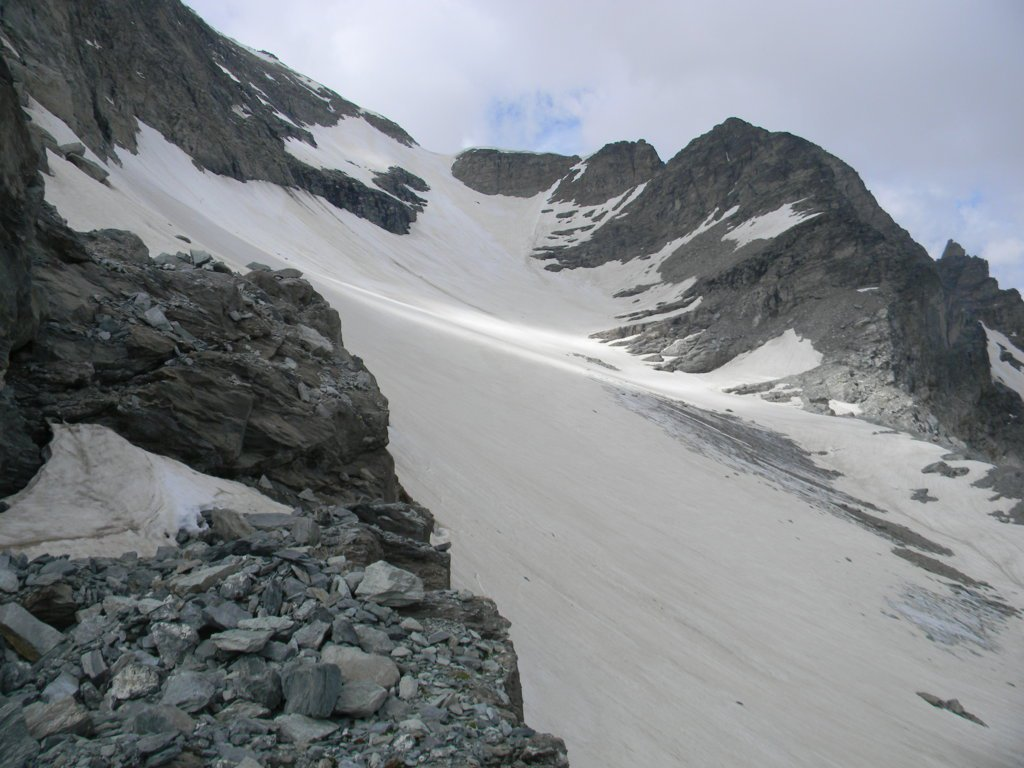 Le Glacier D'Ambin da risalire col colletto da raggiungere