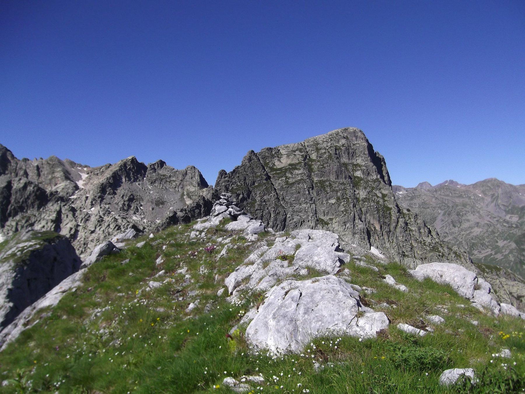 Mote Chiamossero (m.2478) e alle spalle il Monte Frisson (m.2637).
