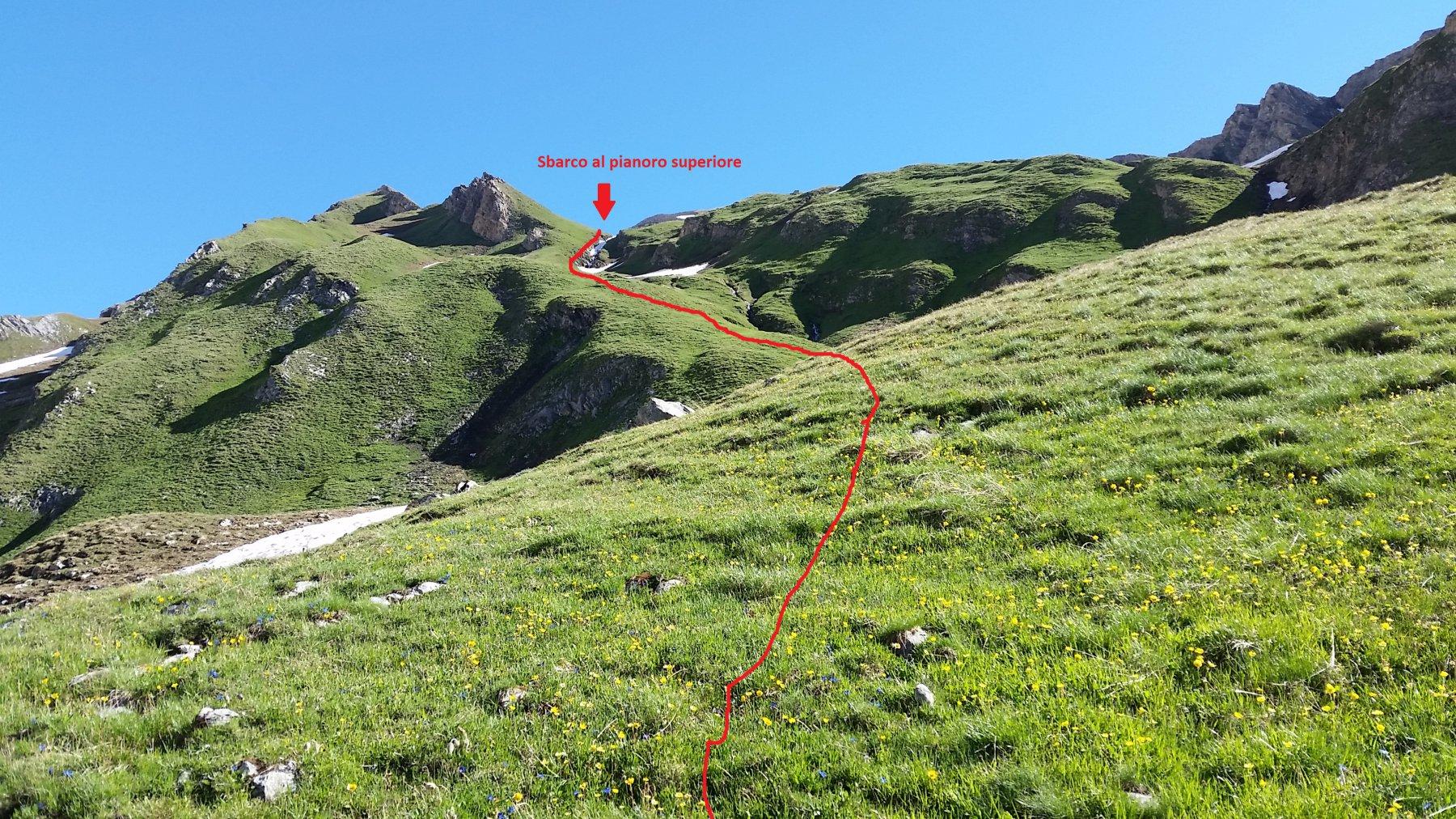 Il percorso di salita da Bonalex, che porta al pianoro superiore