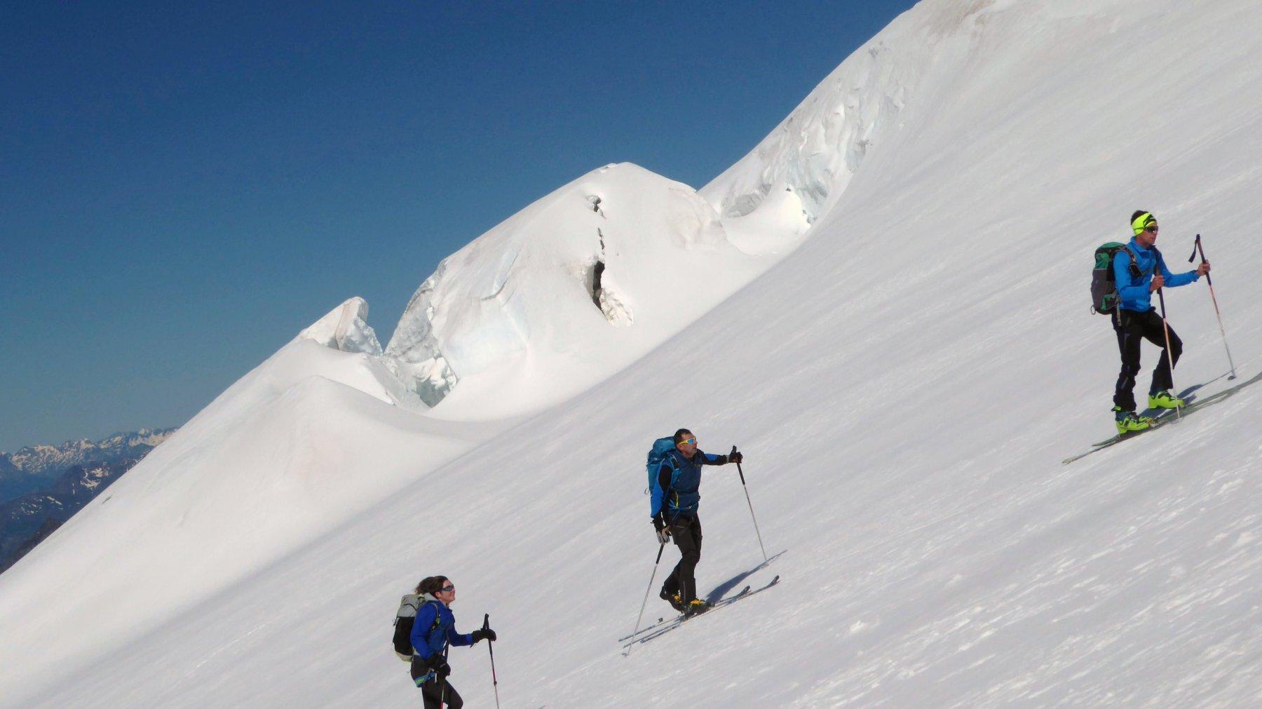 sul ghiacciaio sopra i rifugi