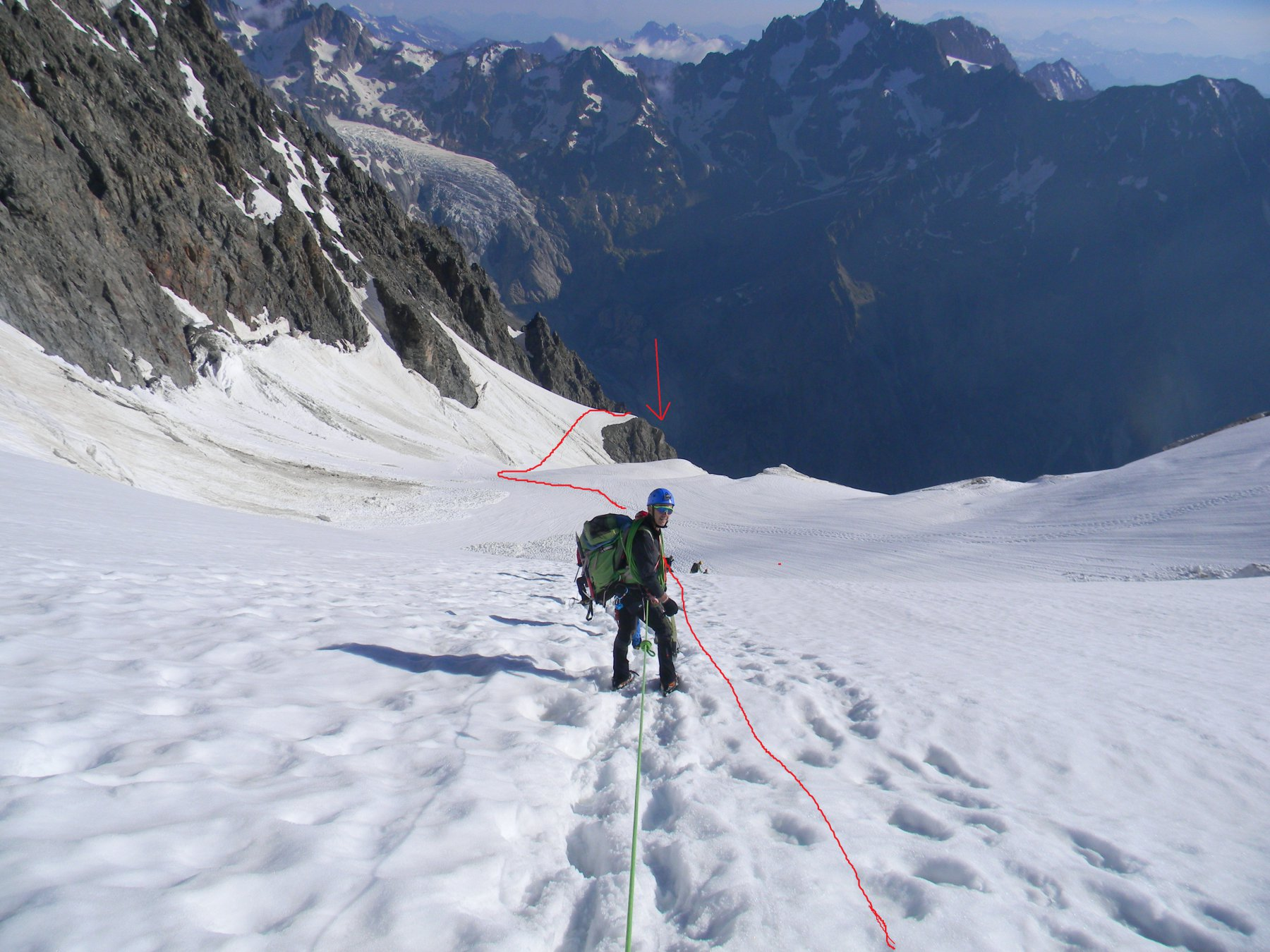 attraversamento del glacier Pelvoux....fino alla calata 1
