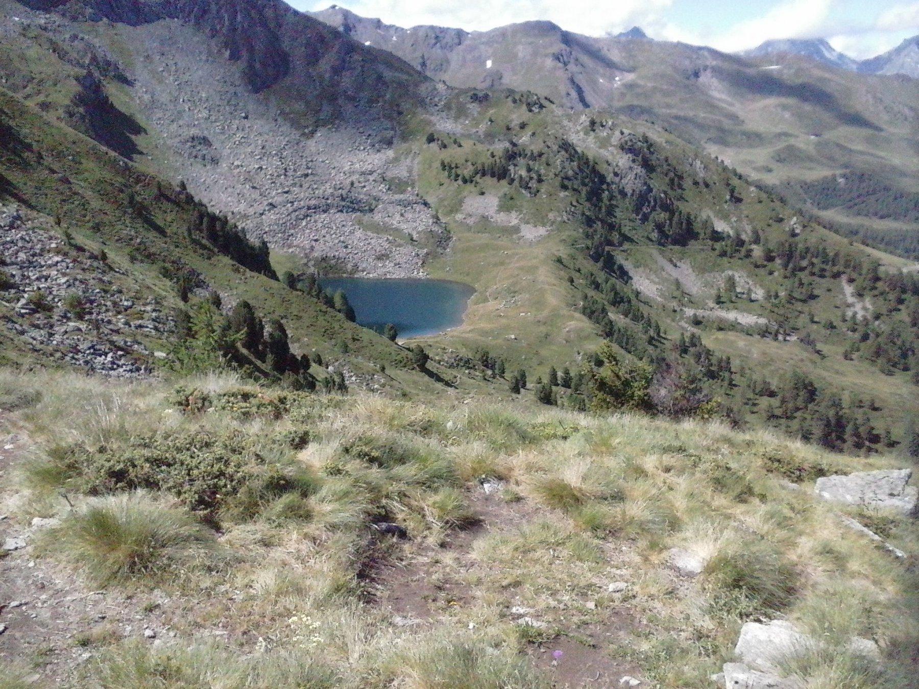 vista del lago Chamolè dal colle Replan..