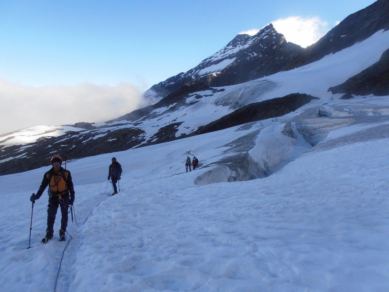 06 - anche in piano il ghiacciaio è crepacciato