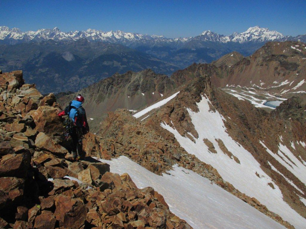 scendendo dalla normale per cresta al Valaisan