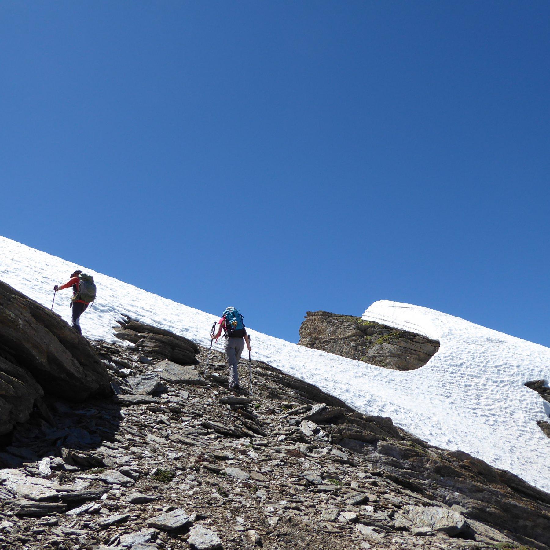 ultimi metri verso la cima: tenersi a sinistra