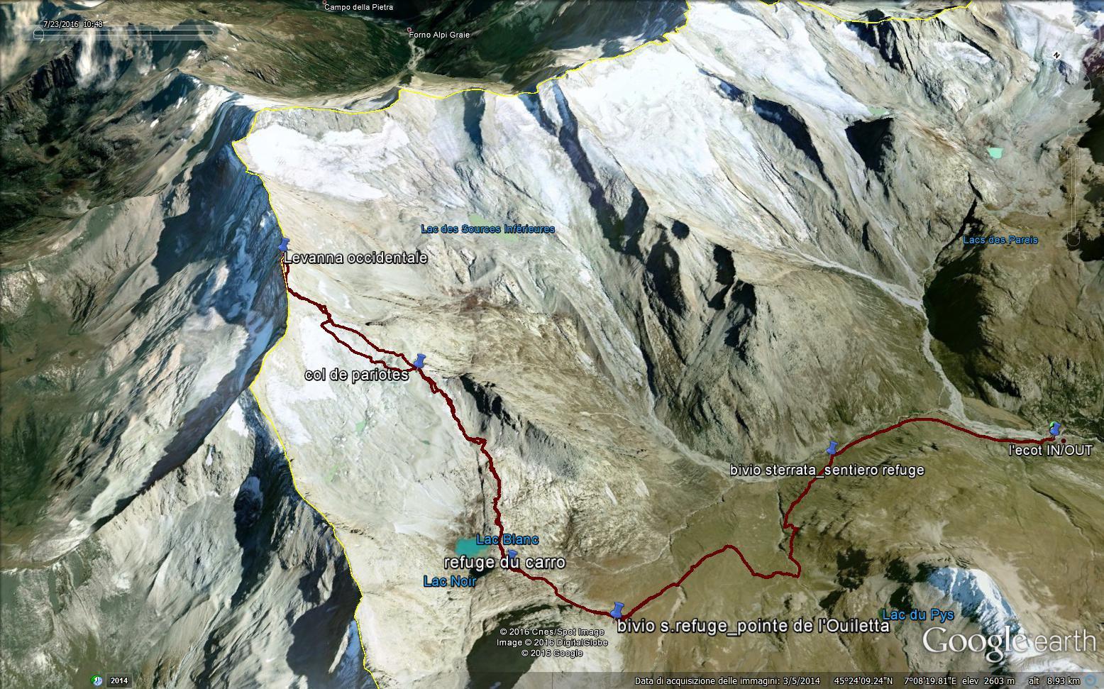 l'itinerario da L' Ecot in Image Google Earth