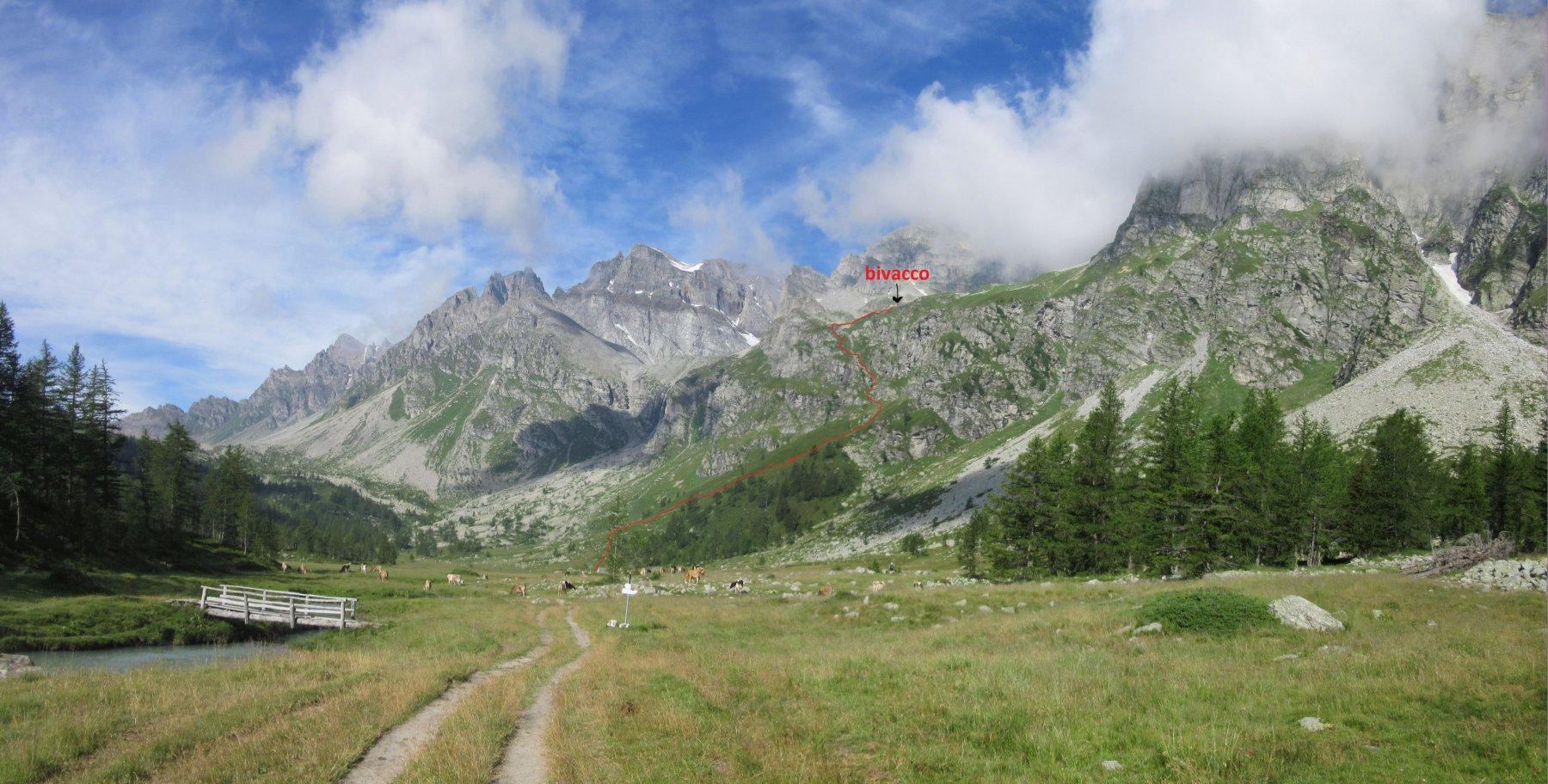 Il percorso da seguire dai pascoli dell'Alpe Buscagna