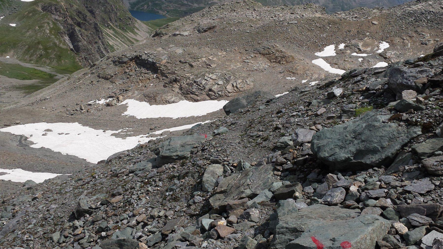 tracce di sentiero sopra il Pian Ballotta