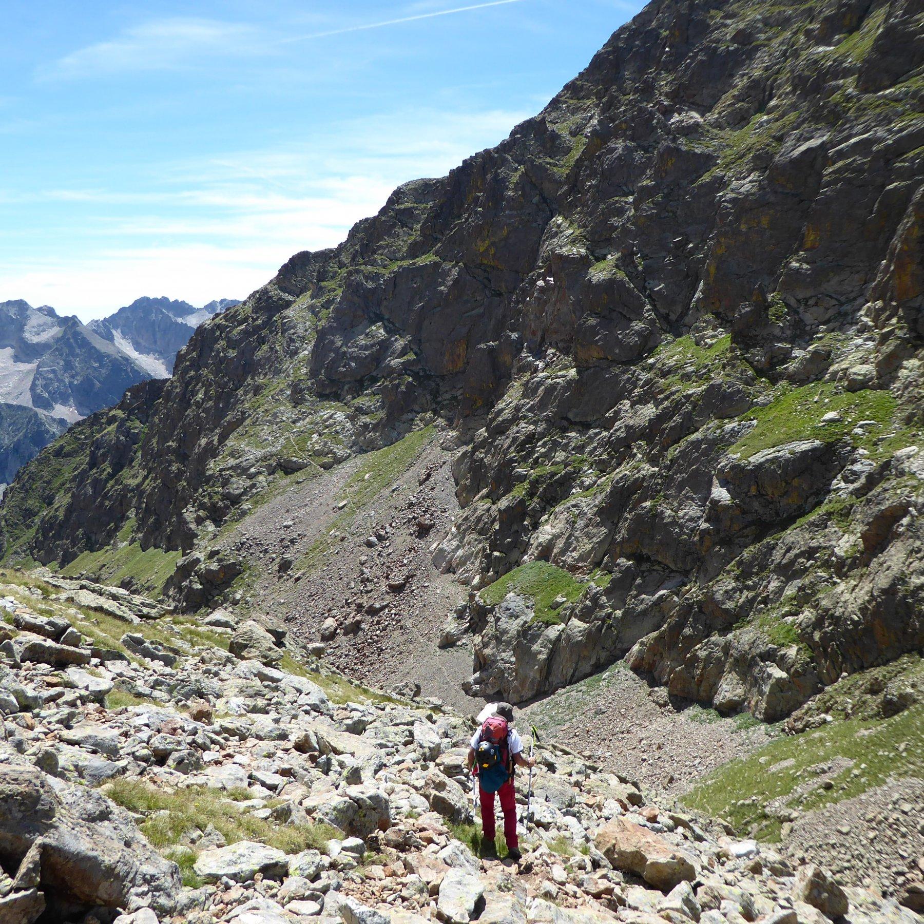 Al ritorno: in prossimità del passo di Cabrera, il sentiero che risale alla mulattiera