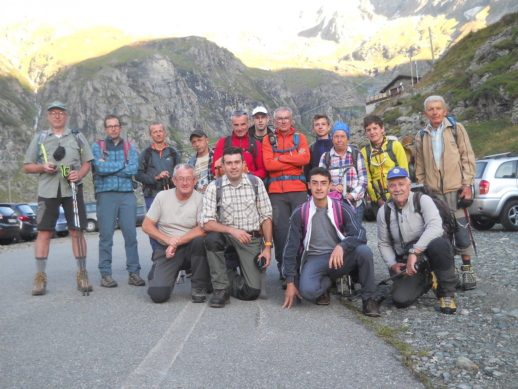 il gruppo in partenza dal Pian della Mussa