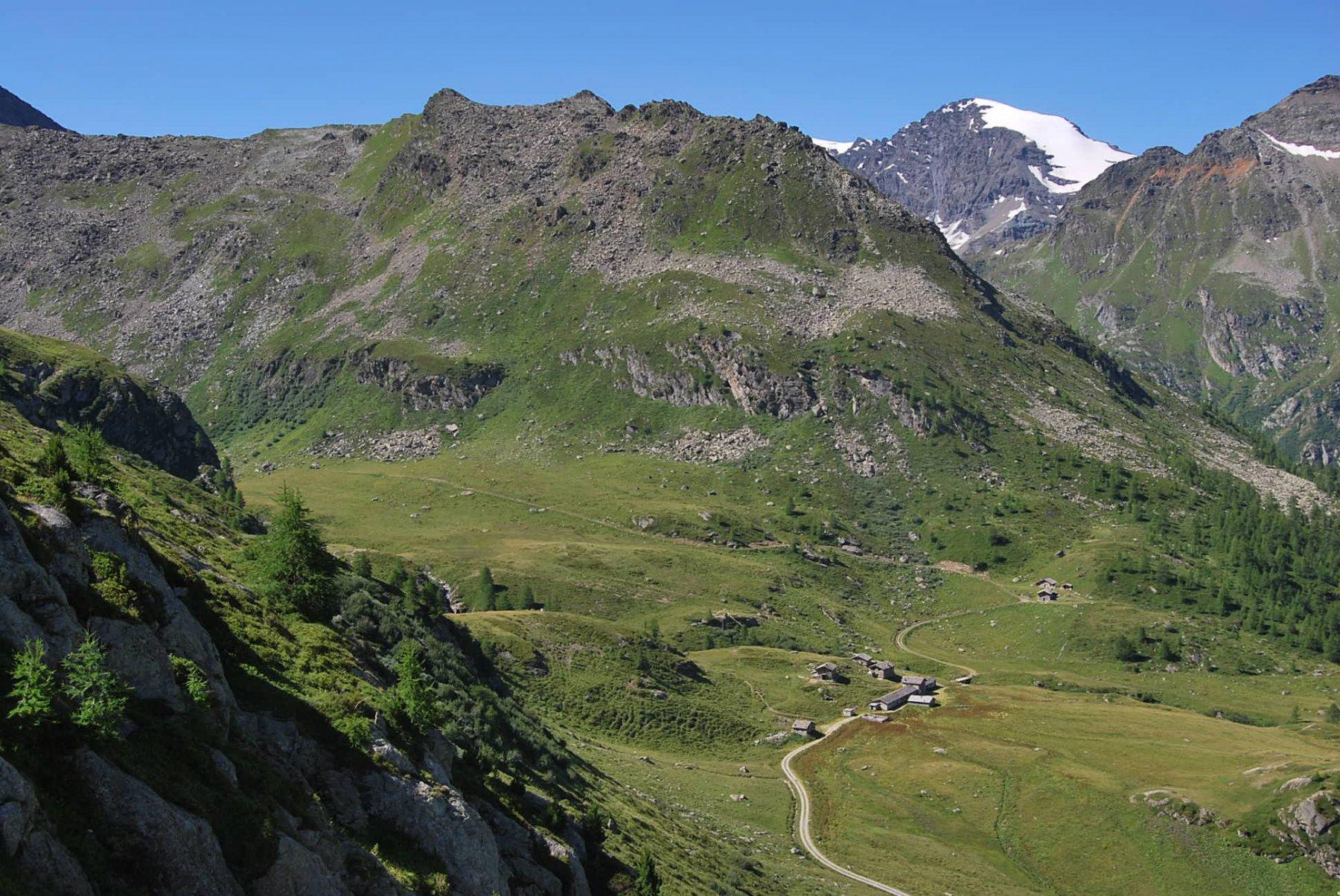 Dal sentiero 11 vista su Alpeggi Mont Fortchat e Becca Refreita