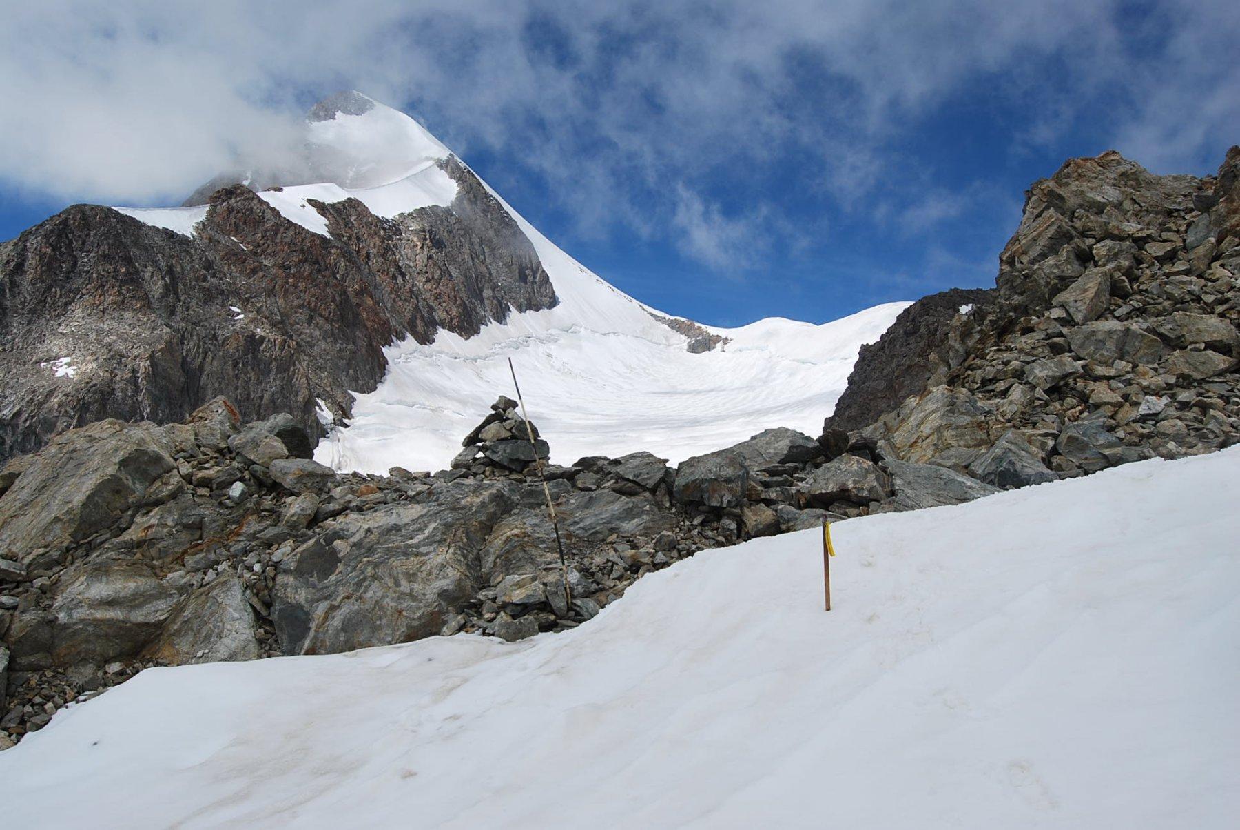 Il punto per la discesa sul Ghiaccio del Petit Mont Blanc per la salita al Trelatete