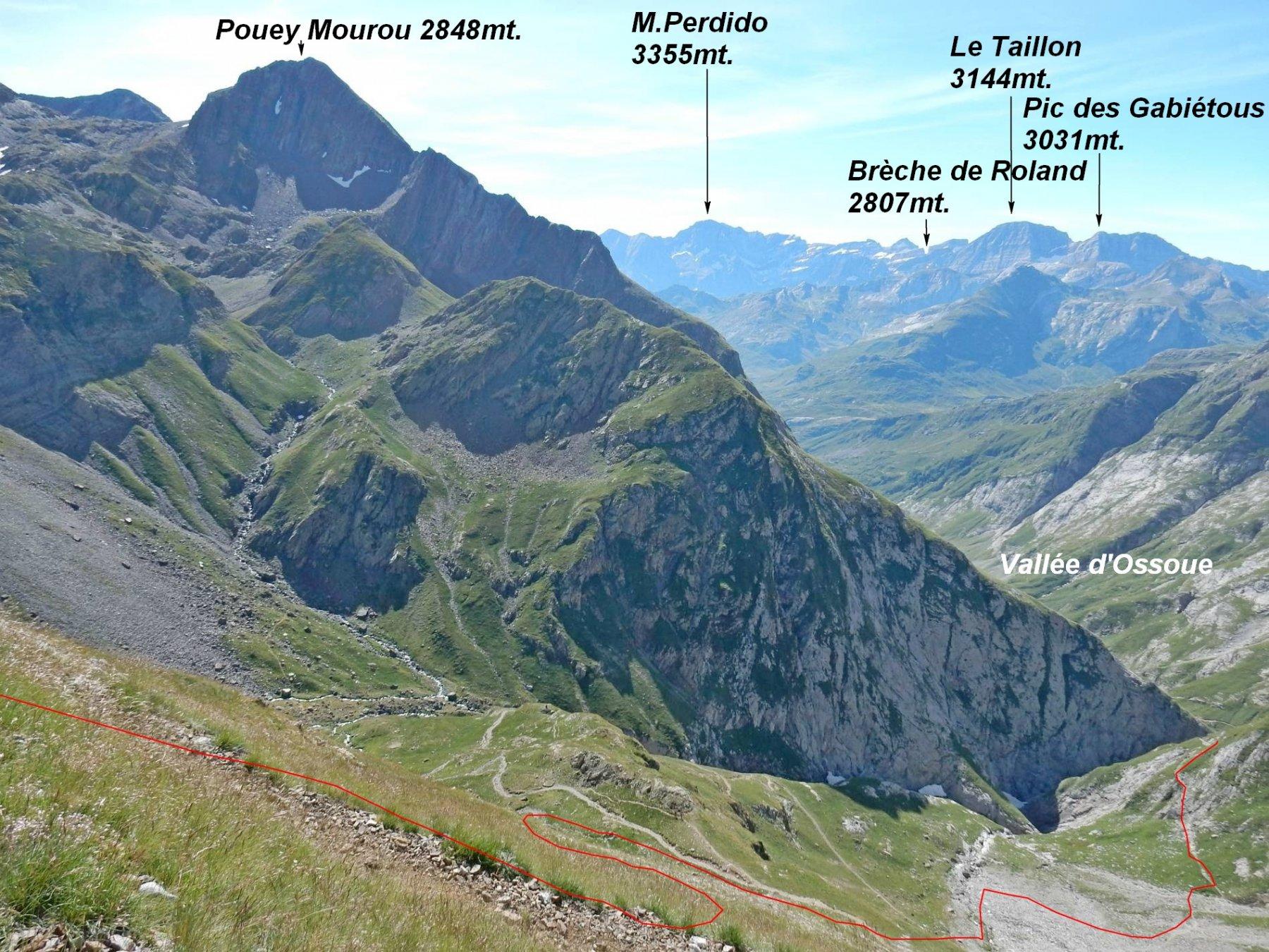 Si scende verso la Vallée d'Ossoue ,in rosso un tratto della traccia.