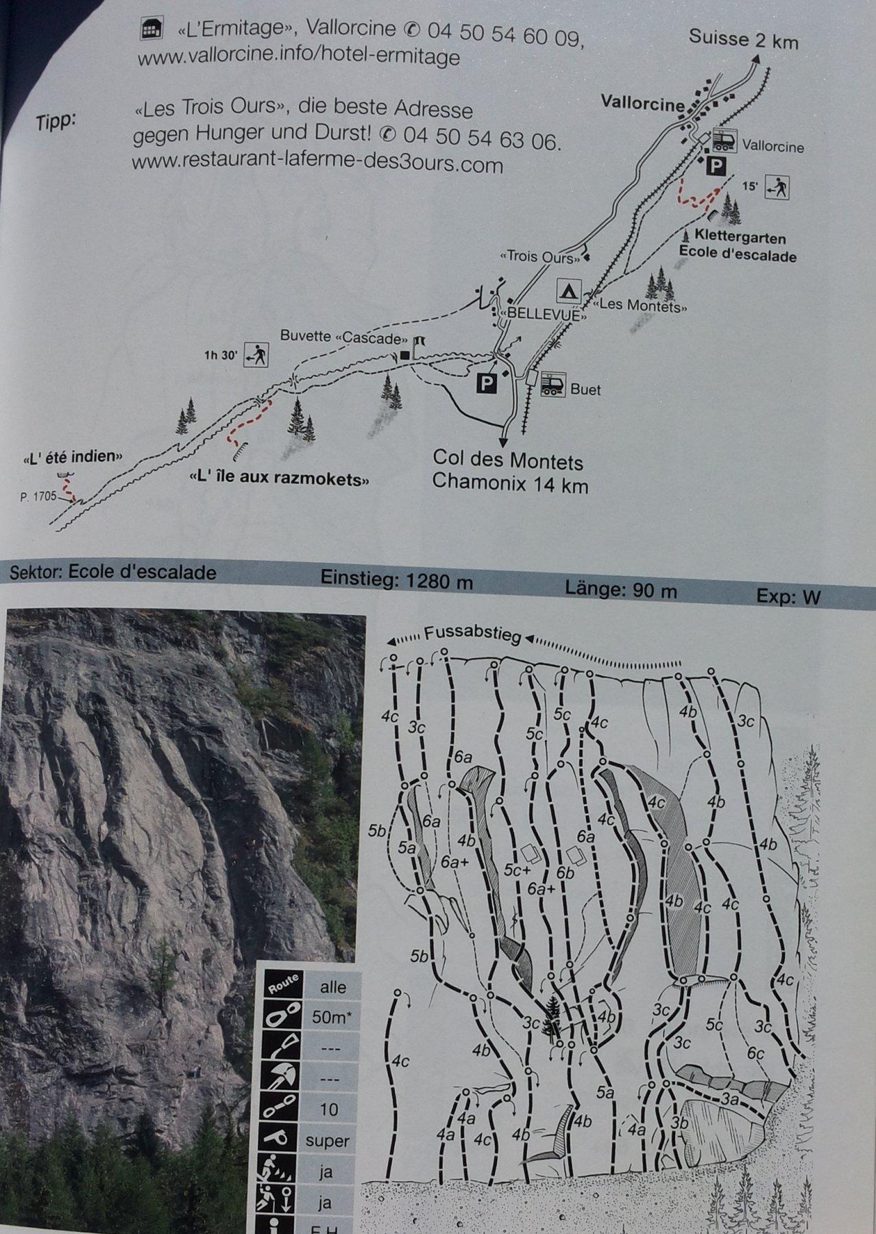 mappa dell'area e settore delle vie lunghe