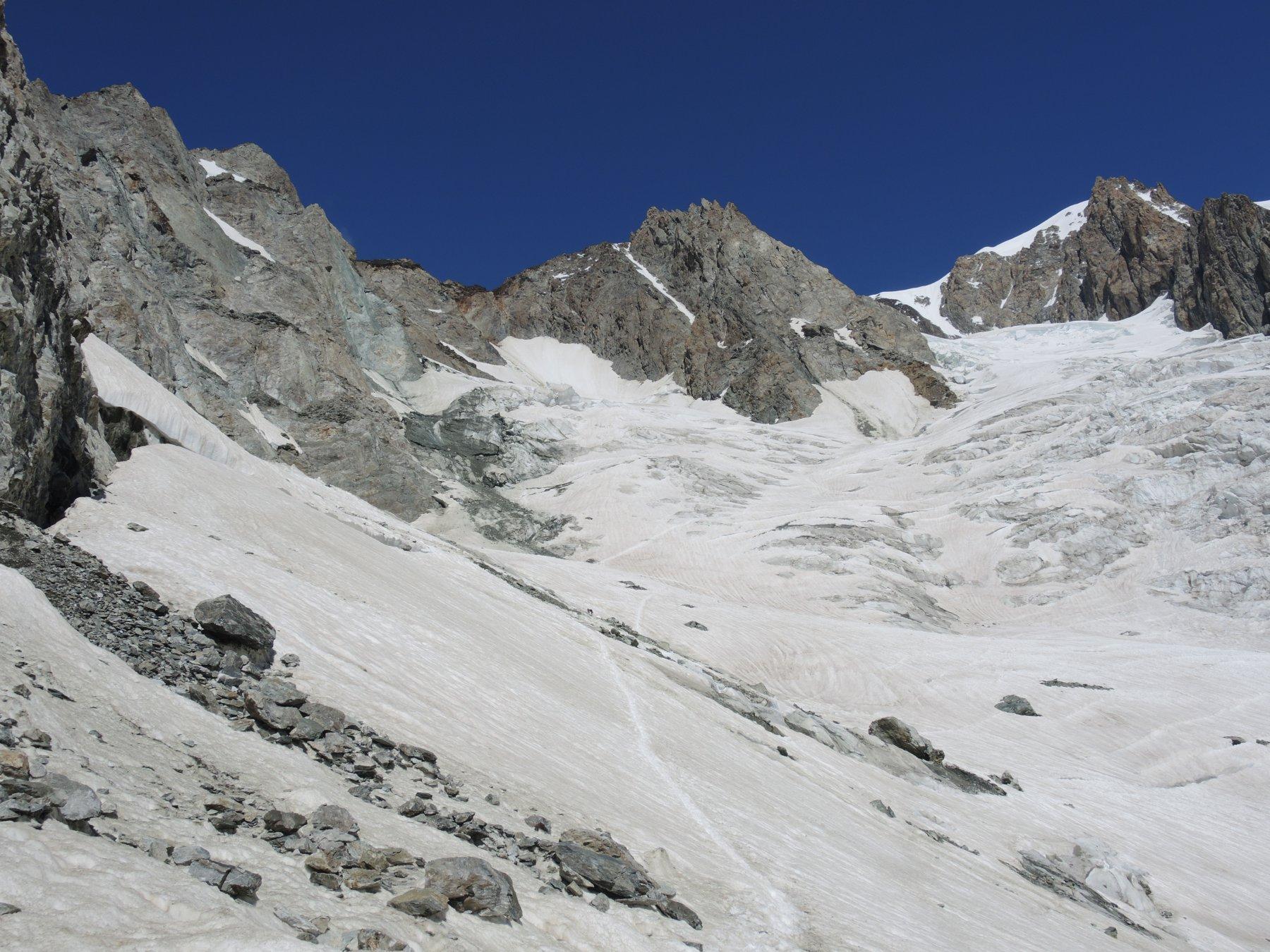 Il ghiacciaio del Dome dai pressi del rifugio Gonella