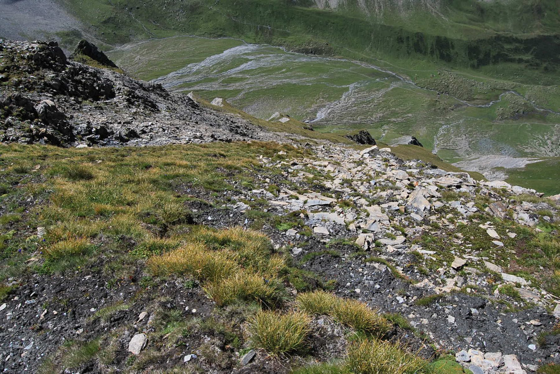 La via di discesa sul versante Malatrà vista dalla vetta