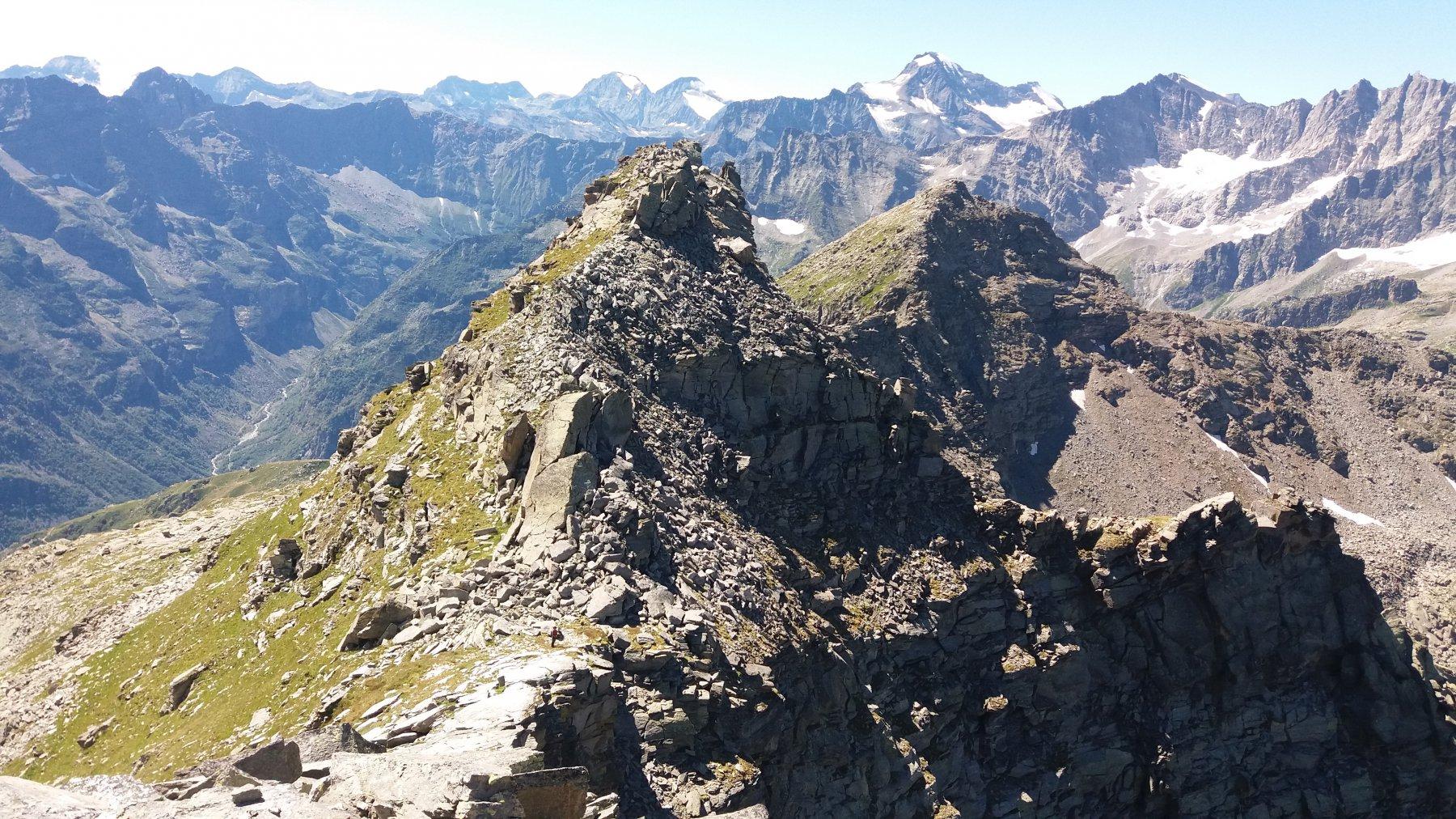 Cima S e Barrouard, visti dalla cima N. Il puntino sul colle e' Bruna!