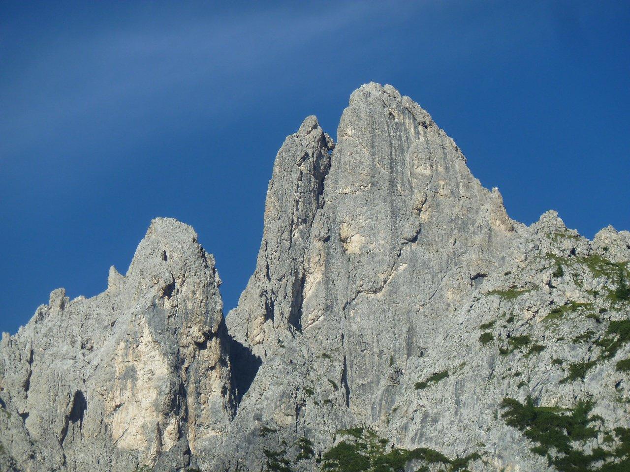 Sass d'Ortiga, parete Ovest e spigolo