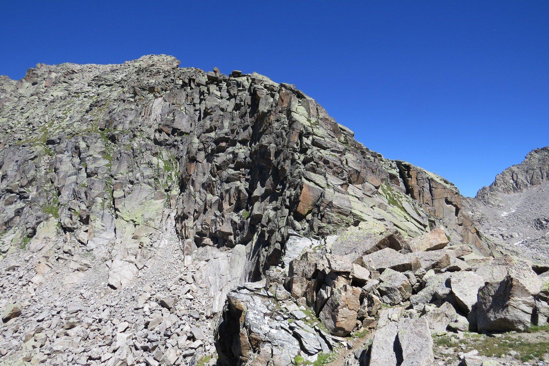 Salto di cresta da aggirare ad est