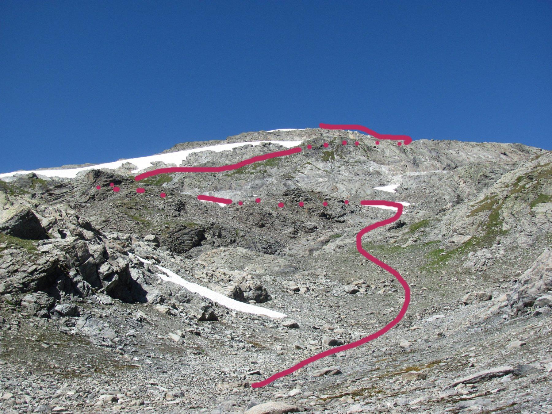 Indicazione approssimata della salita sul versante sud del M. Freduaz