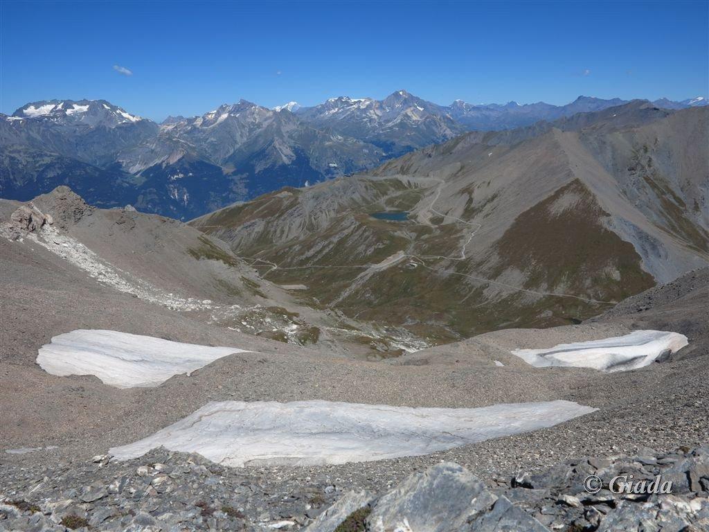 Panorama verso il Col D'Arrondaz, Frejus e Monte Bianco