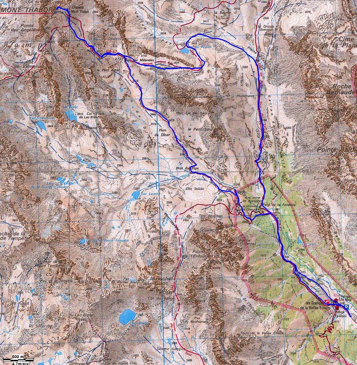 cartina con traccia che passa dal lago peyron
