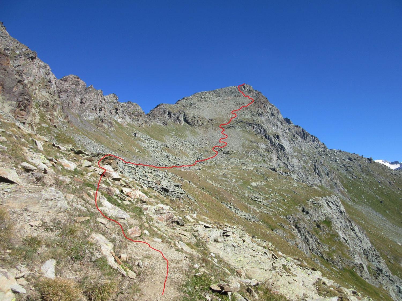 La via percorsa dal colle di Nana in vetta (sentiero D3)
