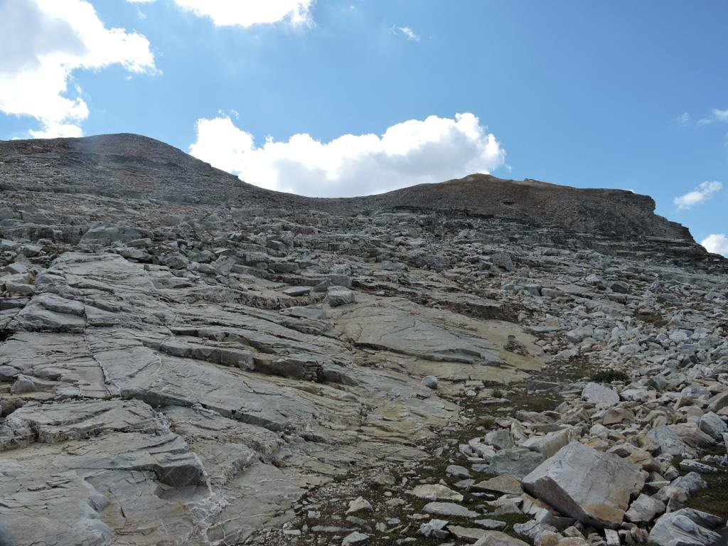 La pietraia dal colle verso la vetta.