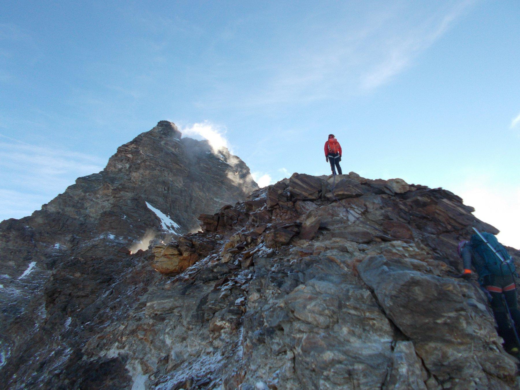 l'arrivo in cima al Pic Tyndall..con la meta ancora ben lontana..