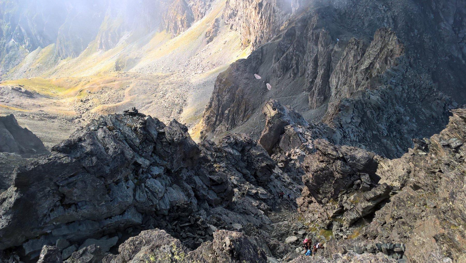 la prima parte del canale visto dalla Cima