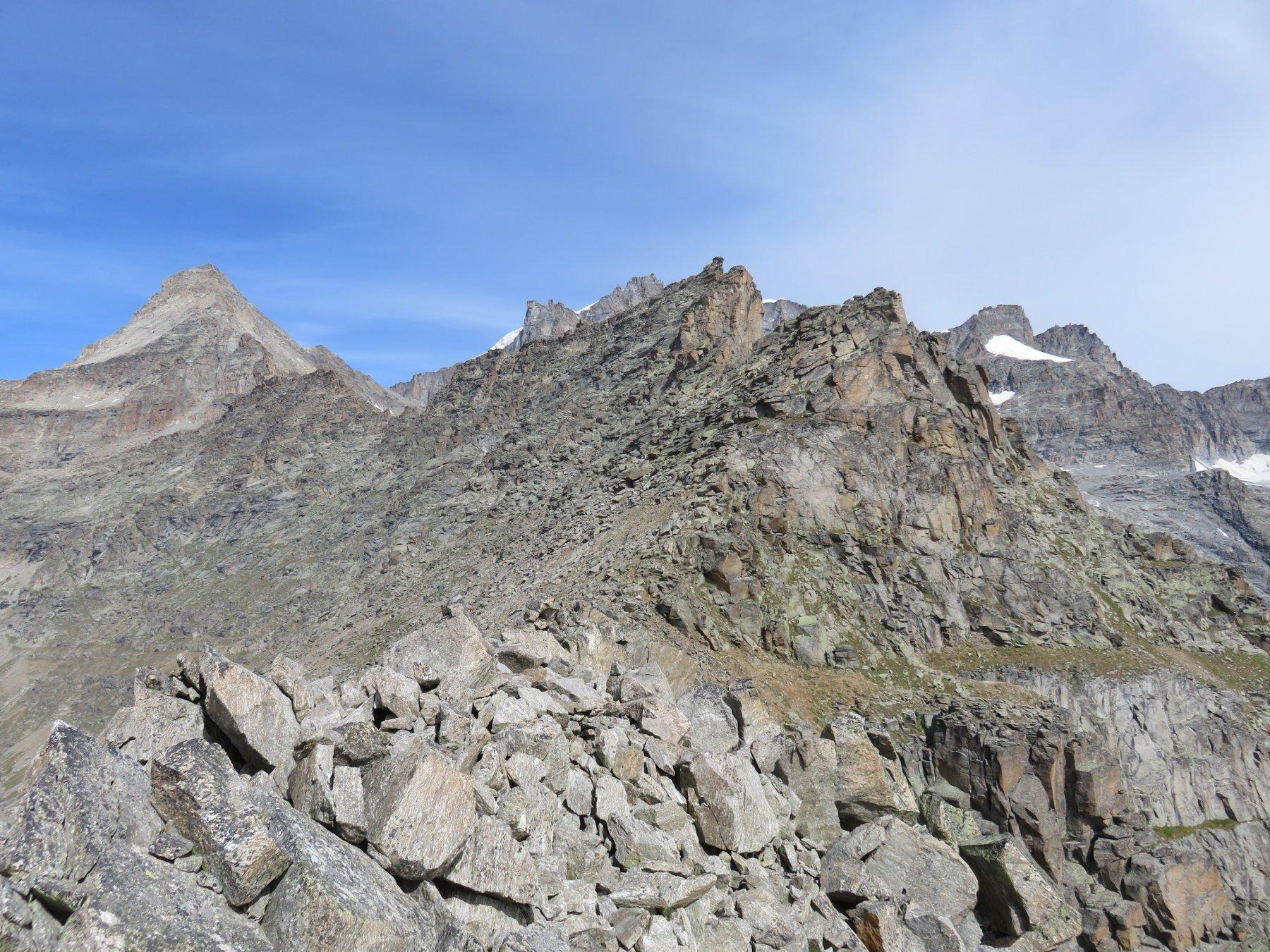 Cresta a blocchi che precede la Sella dei Prósces