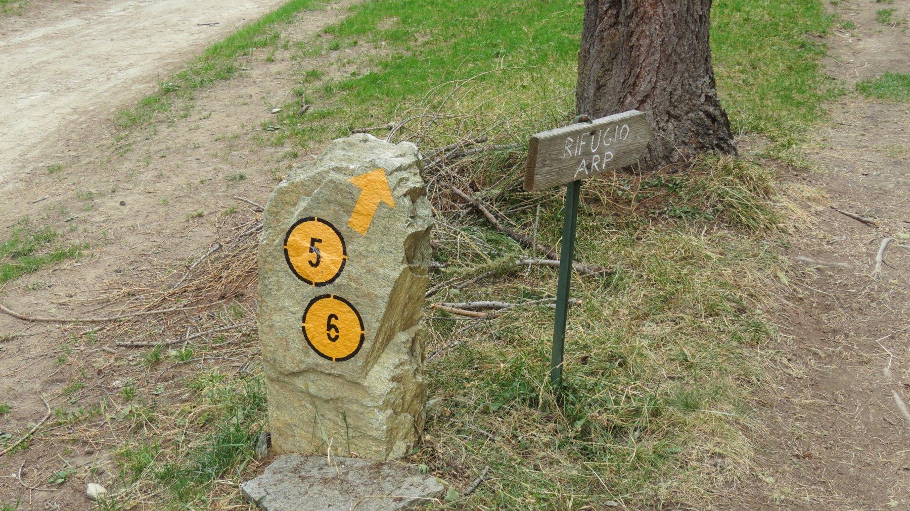 segnavia e cartello indicatore all'inizio del sentiero