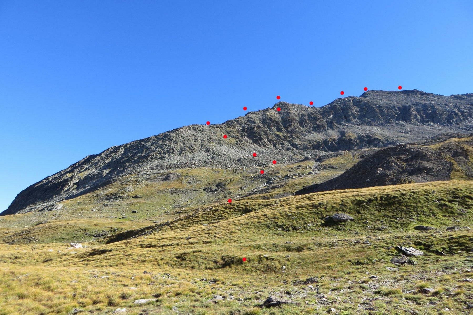 percorso per salire sulla cresta ovest