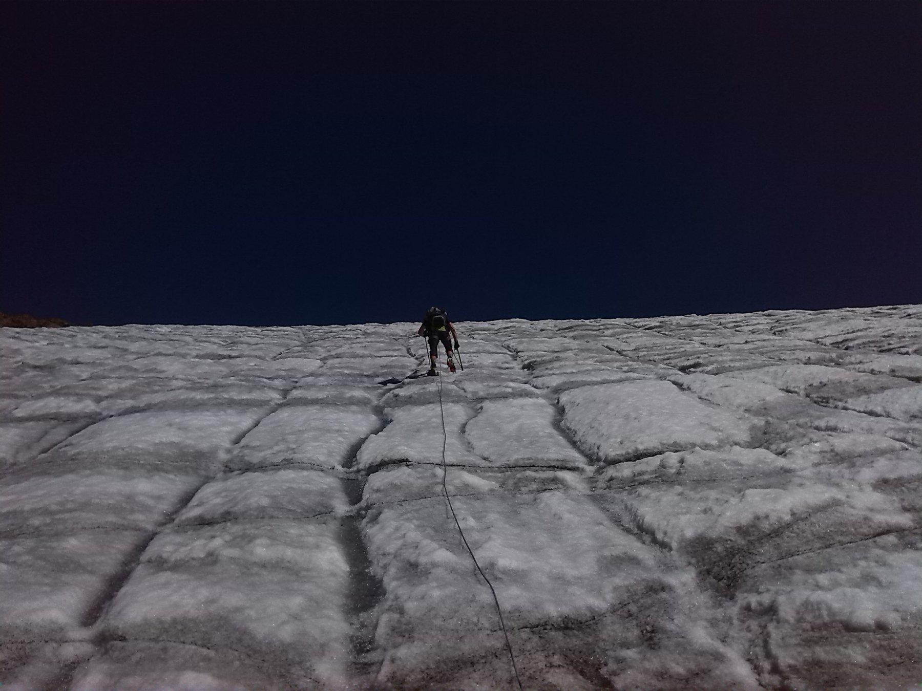 la parte iniziale del ghiacciaio (30°)