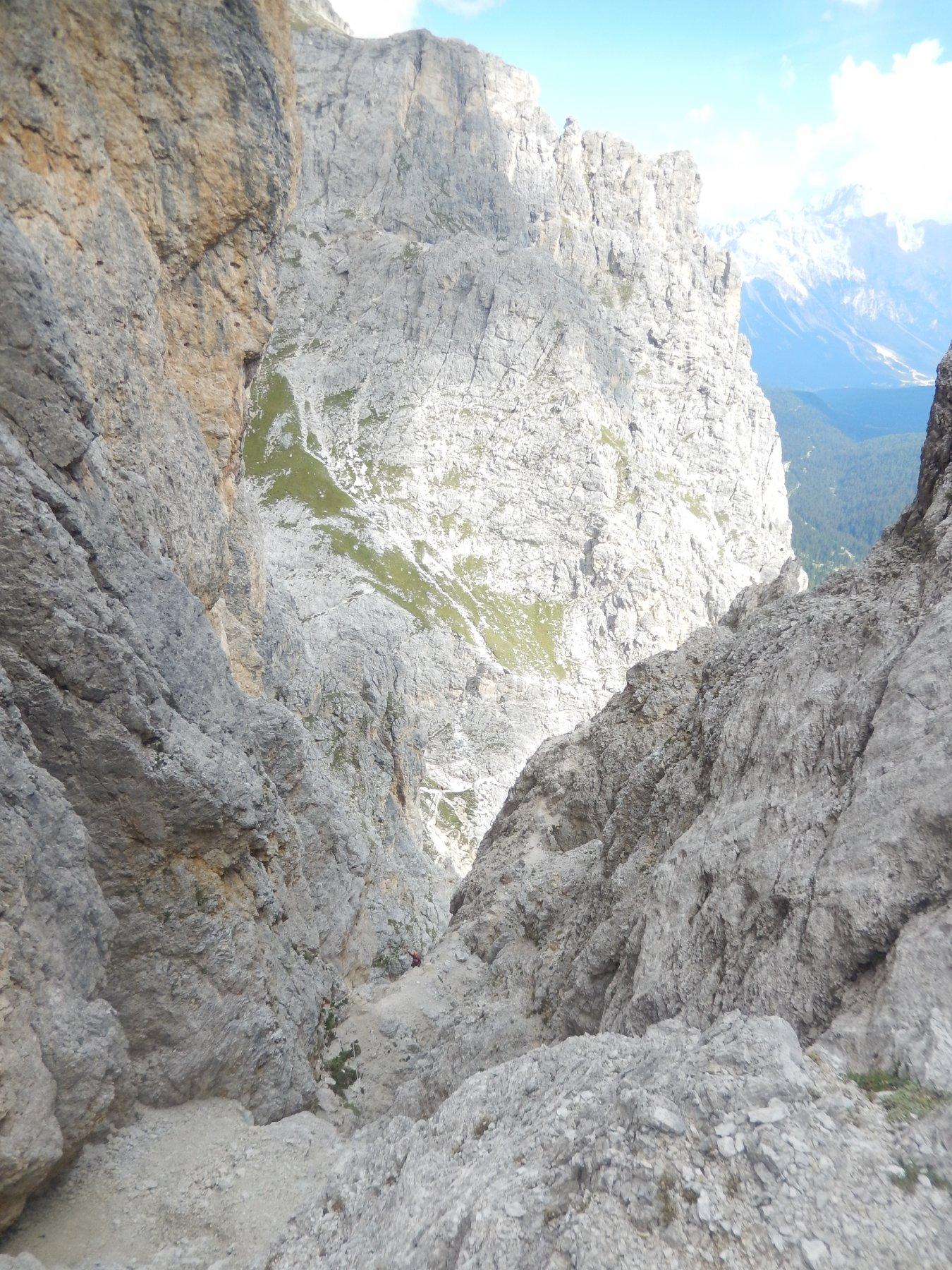 Canale di uscita verso la forcella della Torre Falzarego