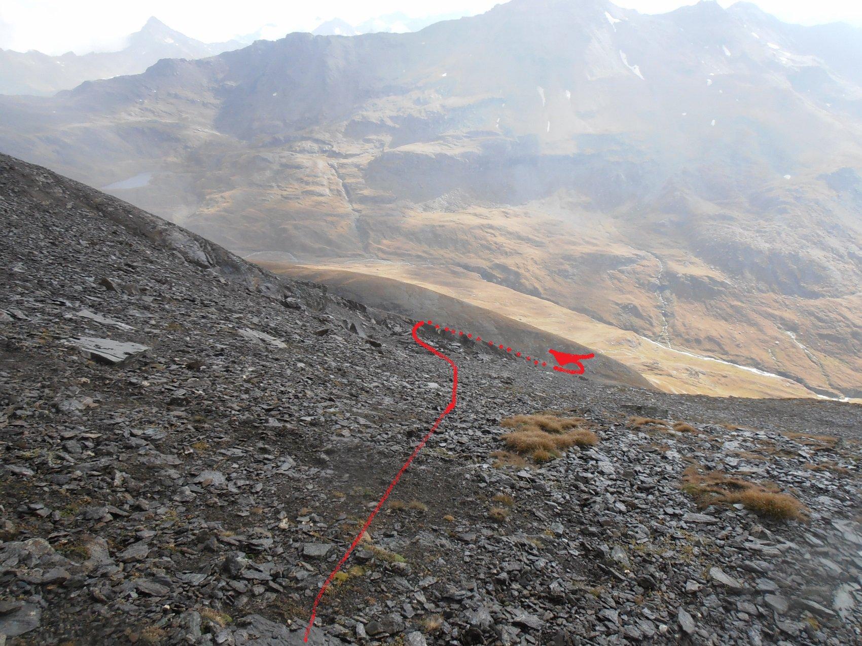 06 - direzione indicativa dal Colle a est della Punta Gianni Vert pe incontrare il passaggio facile di discesa